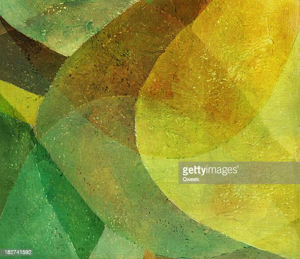 Abstrakt Grün und Gelb Gemälde