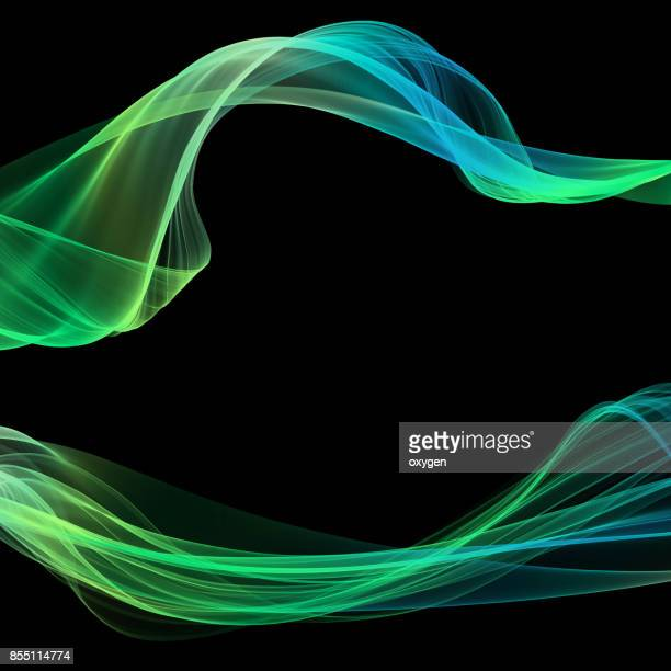 abstract green blue, line, wave, fabric isolated on black background