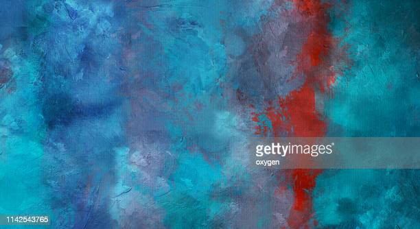 abstract green blue stucco texture background on canvas - impressionism stock pictures, royalty-free photos & images