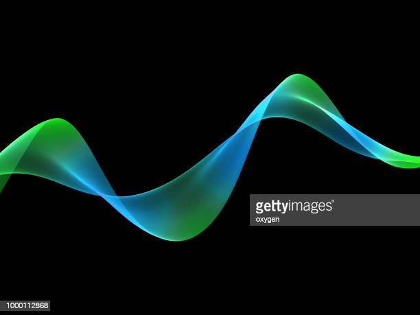 Abstract green blue wave on black background