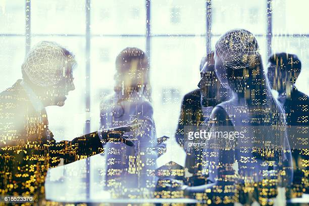 abstract group of business people - communication photos et images de collection