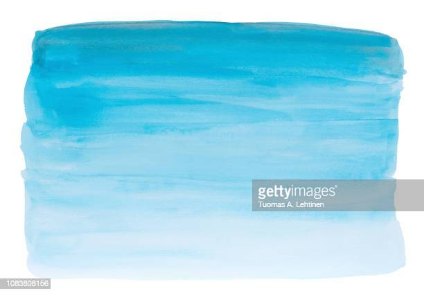 abstract hand painted gradient turquoise colored watercolor background with watercolour stains and paper texture on white background. - brush stroke stock pictures, royalty-free photos & images