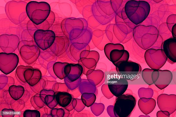 Abstract Hearts bokeh on pink background