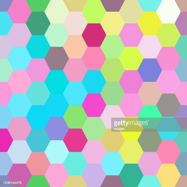abstract hexagon geometric polygonal multicolored seamless pattern background - pop art stock pictures, royalty-free photos & images
