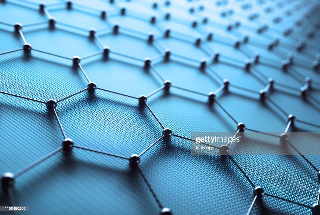 Abstrakte sechseckige Atomverbindung Wissenschaftstechnologie : Stock-Foto