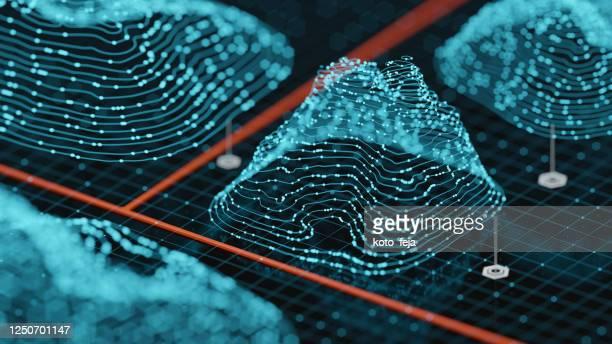 fundo de paisagem de holograma abstrato - big data - fotografias e filmes do acervo
