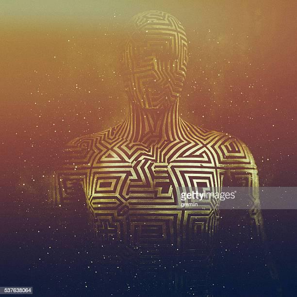 Abstrakte humanoid Form, cyborg, avatar