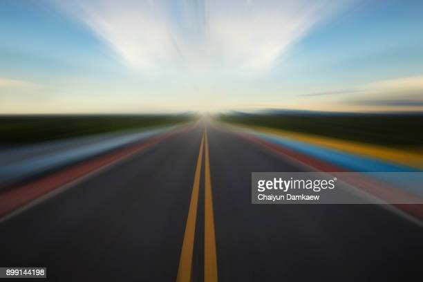 abstract image a moving  road - curved arrows stock photos and pictures