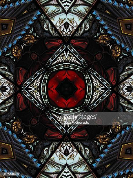 Abstract image: kaleidoscopic image of a colored stained glass window inside a church