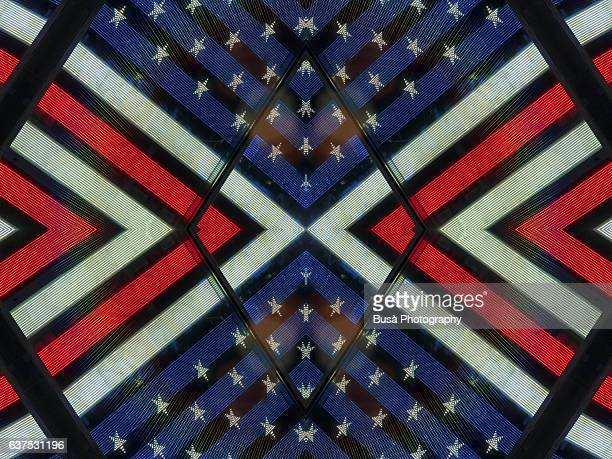 Abstract image: kaleidoscopic image of American flag in New York City, USA