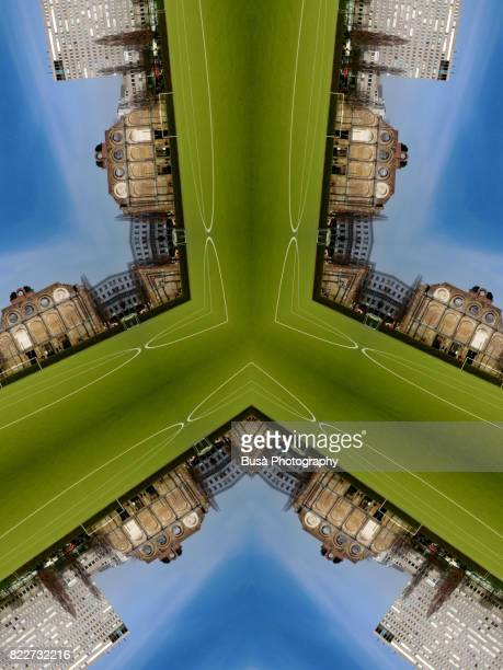 abstract image: kaleidoscopic image of anhalter station, a dismissed station bombed during the war near potsdamer platz, in the center of berlin - radial symmetry stock pictures, royalty-free photos & images