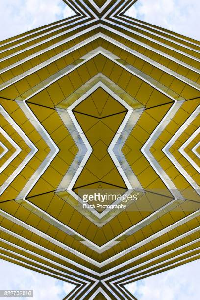 Abstract image: kaleidoscopic image of architectural detail of modern residential building on the London docklands, UK