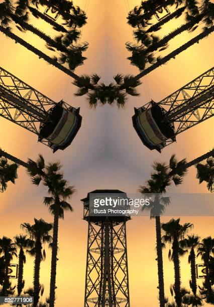 abstract image: kaleidoscopic image of barcelona port's cable car in barcelona, spain, with palm trees at sunset - radial symmetry stock pictures, royalty-free photos & images