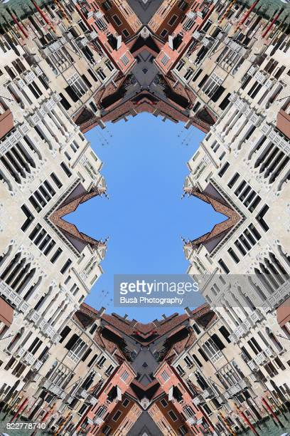 abstract image: kaleidoscopic image of buildings of canal grande, venice, italy - radial symmetry stock pictures, royalty-free photos & images
