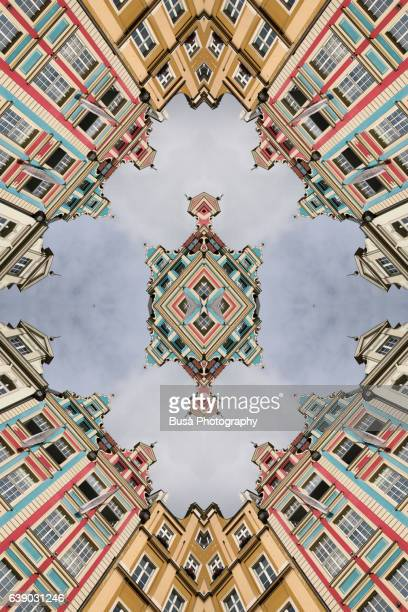 Abstract image: kaleidoscopic image of colorful facades in Market Square, Wroclaw, Poland