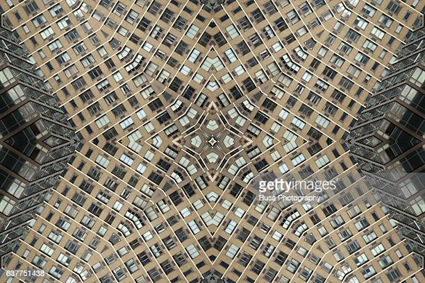 Abstract image: kaleidoscopic image of facade of building in New York City, USA
