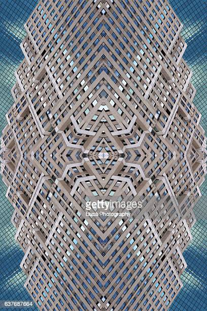 Abstract image: kaleidoscopic image of facade of office tower in Lower Manhattan, New York City, USA