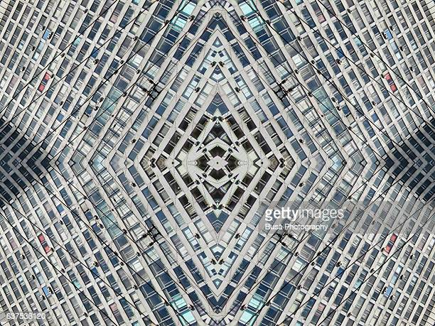 Abstract image: kaleidoscopic image of facade of towering housing project in Moscow, Russia