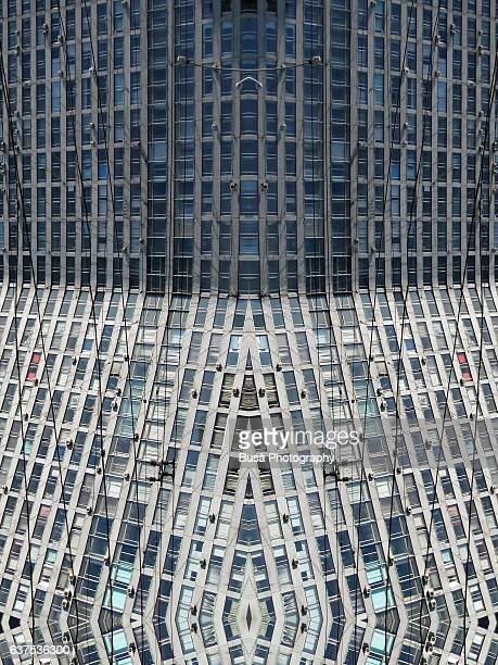 abstract image: kaleidoscopic image of facade of towering housing project in moscow, russia - radial symmetry stock pictures, royalty-free photos & images