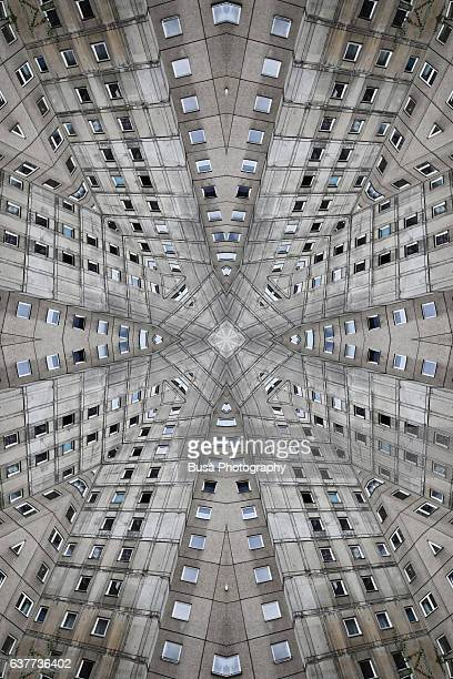 Abstract image: kaleidoscopic image of facade of towering housing project (Plattenbau) in Berlin, Germany