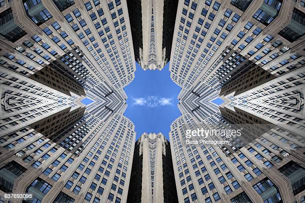Abstract image: kaleidoscopic image of highrise in Midtown Manhattan, New York City, USA