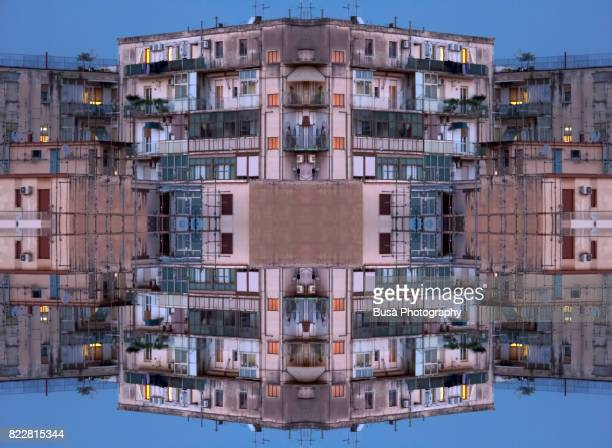 abstract image: kaleidoscopic image of highrise residential buildings in catania, italy - ugly wallpaper stock photos and pictures