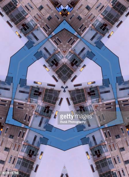 Abstract image: kaleidoscopic image of highrise residential buildings in Catania, Italy