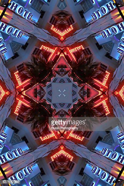 Abstract image: kaleidoscopic image of hotel sign in Miami Beach, Florida, USA