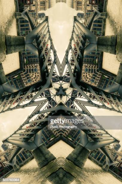 Abstract image: kaleidoscopic image of Millennium Bridge in London, UK
