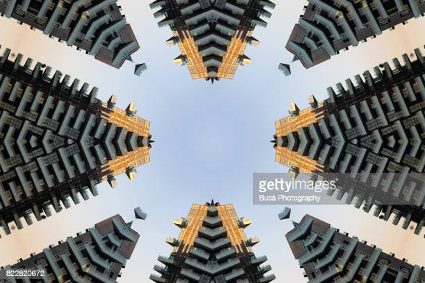 Abstract image: kaleidoscopic image of modern highrises in Milan, Italy