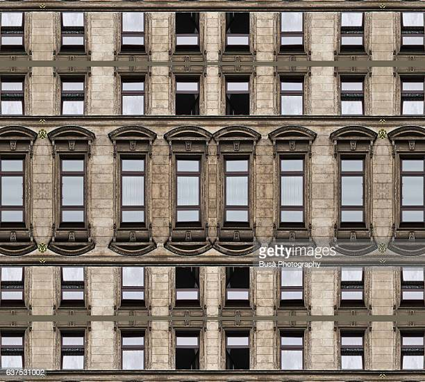 Abstract image: kaleidoscopic image of ornate facade of classical residential building in Berlin, Germany