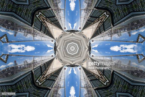 abstract image: kaleidoscopic image of pasageway on the manhattan bridge, new york city - intricacy stock pictures, royalty-free photos & images