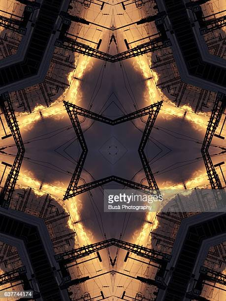 Abstract image: kaleidoscopic image of railway tracks and overhead wires in Berlin, Germany