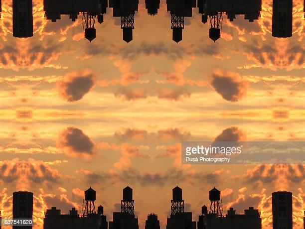 Abstract image: kaleidoscopic image of skyline at sunset with water towers and buildings in New York City, USA