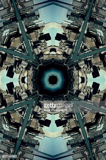 Abstract image: kaleidoscopic image of skyline of Lower Manhattan, New York City, USA