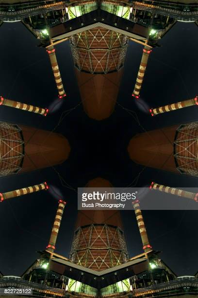 Abstract image: kaleidoscopic image of steel factories in Piombino, Tuscany, Italy