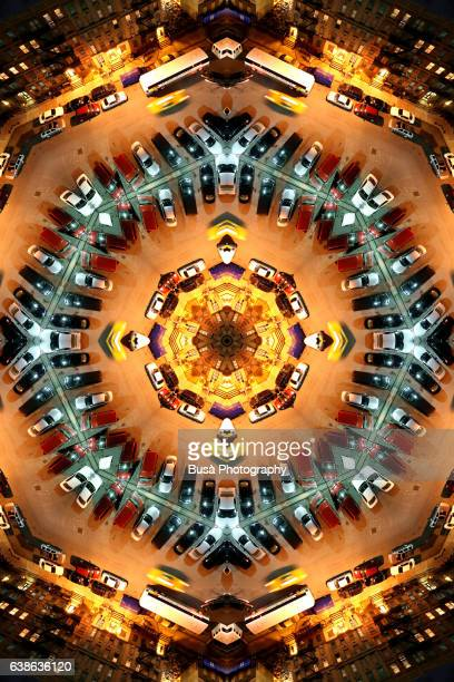 Abstract image: kaleidoscopic image of street in Harlem at night