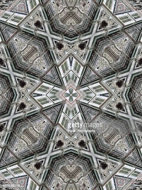 Abstract image: kaleidoscopic image of the facade of the Florence Cathedral, Italy