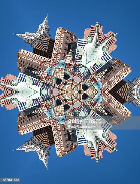 Abstract image: kaleidoscopic image of the famous 'New York New York' Hotel and Casino in Las Vegas, USA