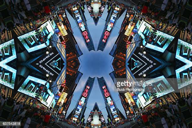 Abstract image: kaleidoscopic image of urban landscape in Times Square, Manhattan, New York City