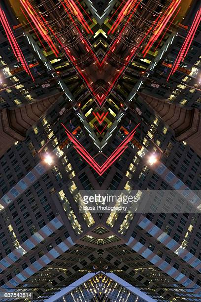 Abstract image: kaleidoscopic image of vibrant, dynamic urban landscape in Downtown Toronto, Canada