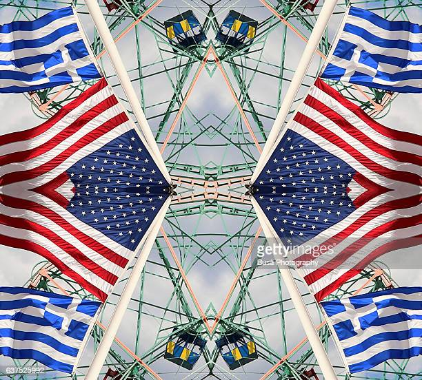 Abstract image: kaleidoscopic image of Wonder Wheel, ferris wheel in Coney Island, and American flags