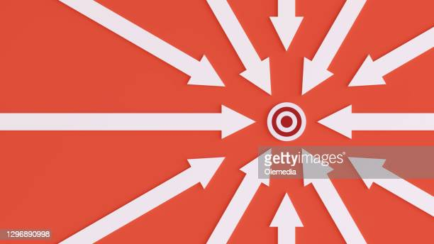 abstract image of an arrow going towards a target. - cross section stock pictures, royalty-free photos & images