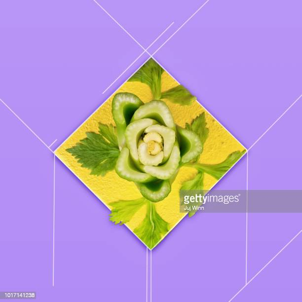 Abstract image of celery  on a yellow and purple background
