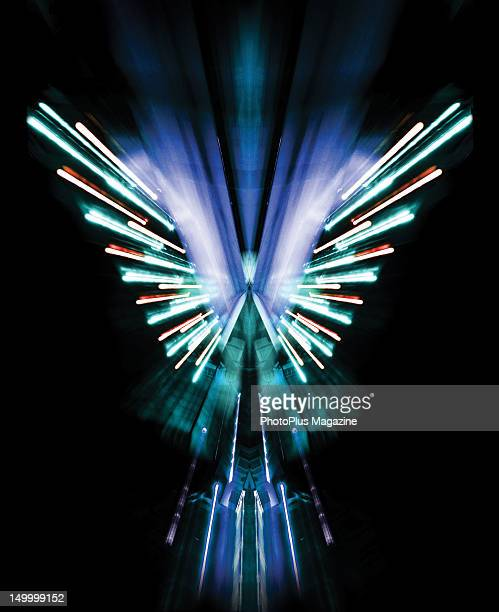 Abstract image of city lights mirrored to resemble an angel taken on November 17 2011
