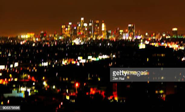 abstract image of cityscape of los angeles, california emphasis on skyline - zen rial stock photos and pictures