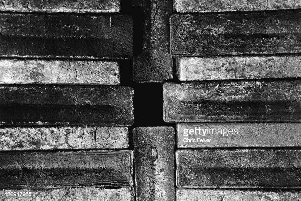 Abstract image of several interlocking rectangular iron ingots 2006 From The Ordered World series