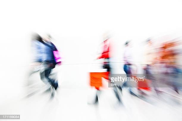 abstract image of shoppers with shopping bags, motion blur - overexposed stock pictures, royalty-free photos & images