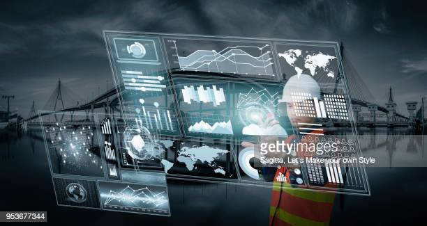 Abstract image of Smart Engineer Foreman Business man Using data hologram to find the best result for transportation. Business technology logistic and transportation double exposure concept.