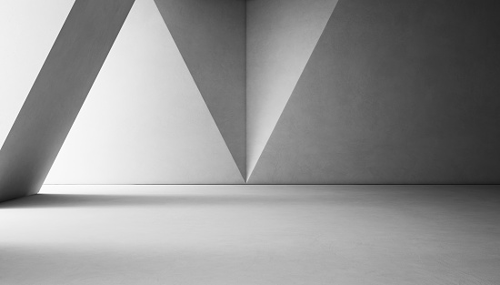 Abstract interior design of modern showroom with empty white concrete floor and gray wall background 692409462